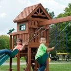 Swing-N-Slide Playsets Playful Palace Wood Complete Playset, Wood Shingle Roof With Architectural Features