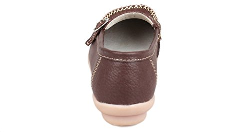 Fangsto Women's Leather Loafers Flats Shoes Slip On Moccasins Brown