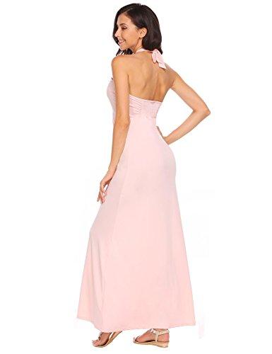 Meaneor Damen Maxikleid mit Neckholder Bandeau Kleid Abendkleid trägerlose Ballkleid Bodenlanges Strandkleid Pink mc5LC1n