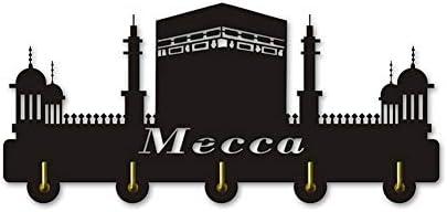 コートフック メッカ都市の景観装飾木製の服の帽子キーフック/コートラック/壁用フック現代の家の装飾壁のステッカーの台所浴室のタオルフック、ブラック(ロング:30センチメートル)