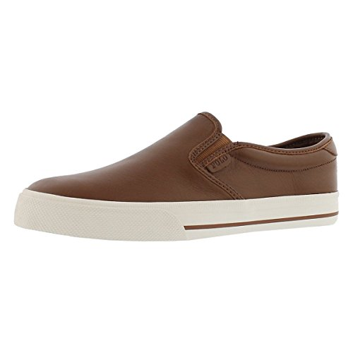 Polo Ralph Lauren Men's Vaughn Slip Sneaker, Deep Saddle Tan, 11 D US (Ralph Saddle Lauren)