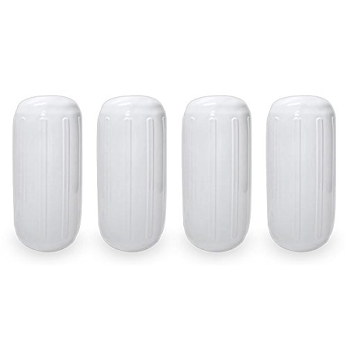 "Center Hole Ribbed Boat Pontoon Fender 8"" x 20"" 4pcs Inflatable Vinyl Mooring Bumpers Guard Dock Docking - White"