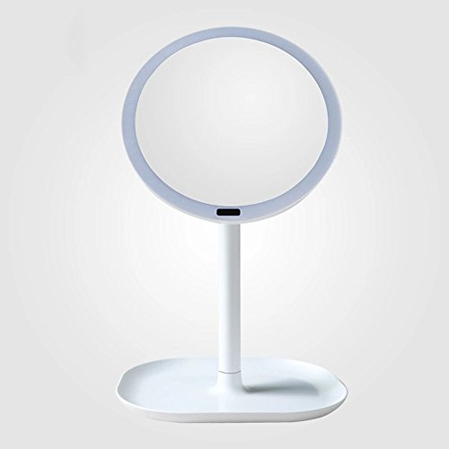 Homesave Professional Illuminated LED Makeup Mirror Dimming Vanity Mirror Touch Screen Dimming Makeup Mirror Led Body Sensor Makeup 5X/7X Magnifier,White,5X