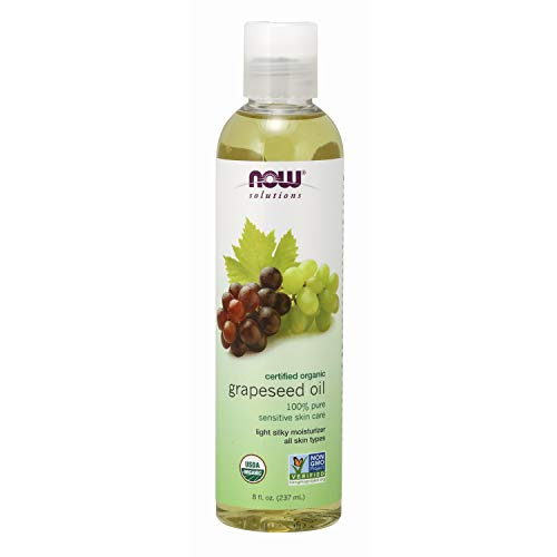 Now Solutions, Organic Grapeseed Oil, Skin Care for Sensitive Skin, Light Silky Moisturizer for All Skin Types, 8 oz ()