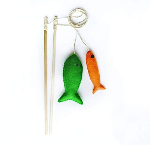 Fishing Rod Catnip Teaser Wand Cat Toy