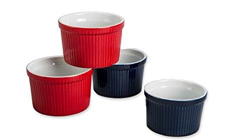 Ramekins Bia (BIA Cordon Bleu (Set of 4) - 12 oz. Porcelain Ramekins Bowls, 2 BLUE 12oz Stoneware Ramekin, 2 RED 12oz Stoneware Ramekin)