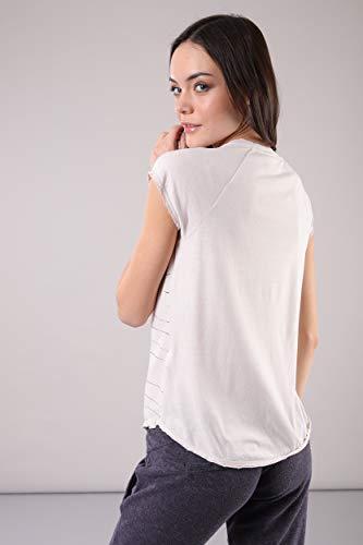 Oblicua Cuello En M Lila Y Manga Camiseta V c Con vx18qF