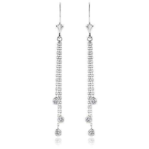 Ladies 14k Gold Chandelier Earrings With Diamonds By The Yard 0.6ctw G-H color (White -