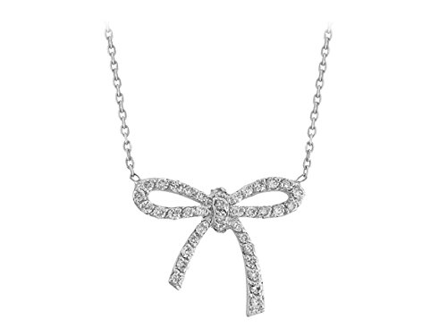 Pendentif Ruban Diamants-Femme- or Blanc 215P0001