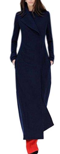 Women's Ultra Long Military Jacket Maxi Wool Trench Coat Full Length Navy Blue ()