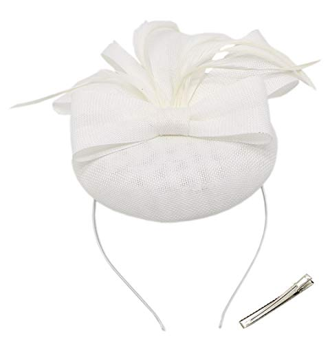 - Womens Fascinators Pillbox Hat Sinamay Feather Flower Clip Wedding Tea Party Cocktail Derby (A Bow White)