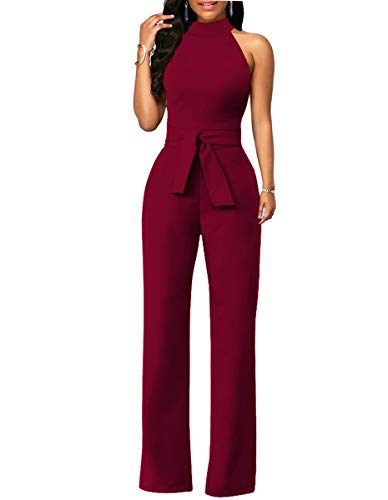 (Chic-Lover Women's Elegant Solid Jumpsuit High Waisted Wide Leg Pants Jumpsuits Romper with Belt (M,)