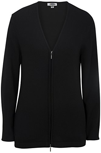Edwards Women's Full Zip V-Neck Cardigan Sweater, Black, Medium - Ladies Full Zip Cardigan Sweaters