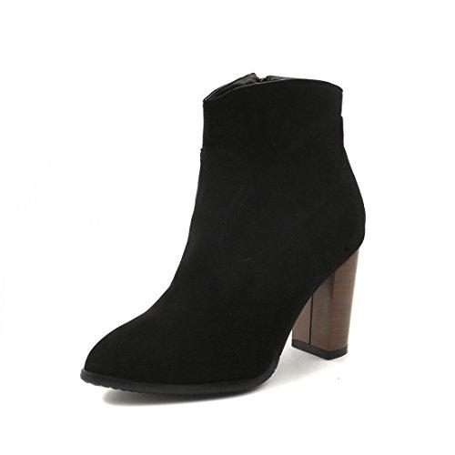 Botas Botas tamaño black de Moda Gran de Mujer Mujer de Tubo Minimalista Botas Sandalette bajo DEDE de qwtZff