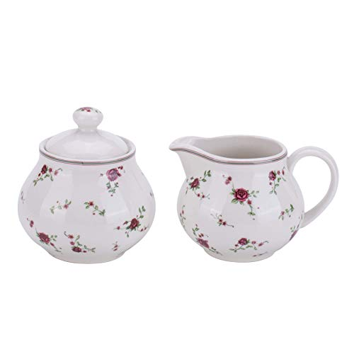 (Lonovel Cream & Sugar Sets with Lids Porcelain Vintage Floral Sugar Bowl and Creamer Set In Beige Color Home and Kitchen Dining,Rose)