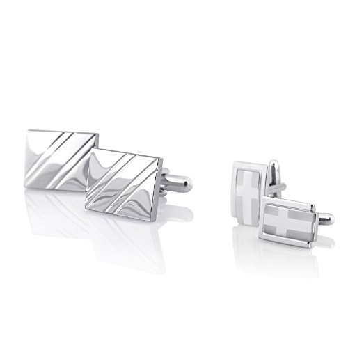Insten Silver Square Diagonal Ribbed Cufflinks with FREE Silver Rectangle Cufflink (Style No.6)