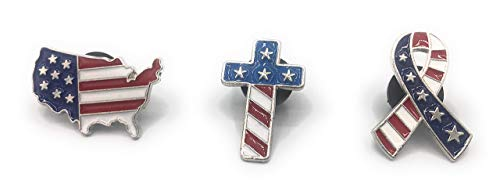 Saint Nick America Pins Set of 3 - Country, Cross and Patriotic Ribbon - Fourth of July Flags - Red, White and Blue Stars and Stripes ()