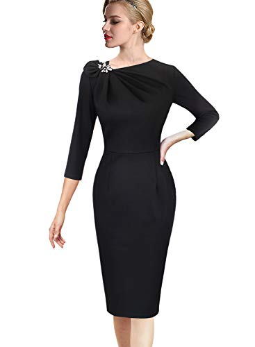 VFSHOW Womens Pleated Asymmetric Bow Neck Work Cocktail Party Sheath Dress 020 BLK S