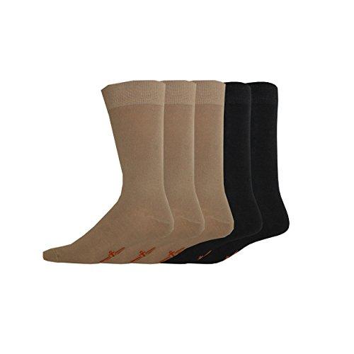 Dockers Men's 5 Pack Classics Dress Flat Knit Crew, Khaki Assorted, Sock Size:10-13/Shoe Size: 6-12 by Dockers