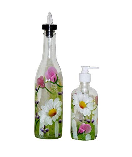 ArtisanStreet's Garden Design Pour Bottle & Soap Pump Dispenser Set. Hand Painted