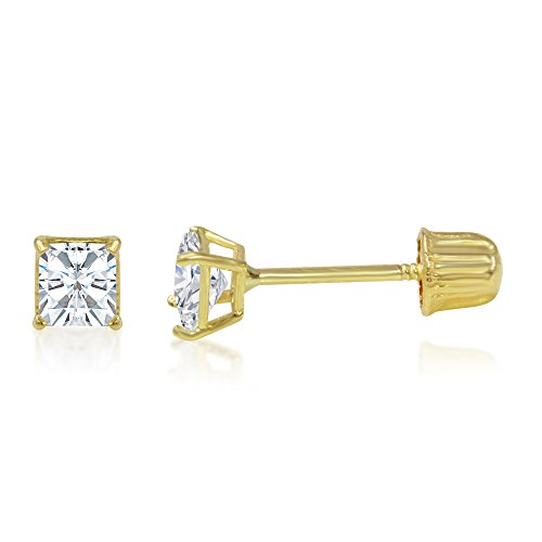 14k Solitaire Gold Yellow Solid (Ioka - 14K Yellow Gold Square Solitaire Princess Cut Cubic Zirconia CZ Stud Screw Back Earrings - 0.25ct (3mm))