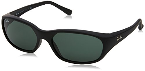 Ray-Ban Men's RB2016 Daddy-O II Rectangular Sunglasses, Rubber Black/Green, 59 mm (Billig Ray Ban Style Sonnenbrille)