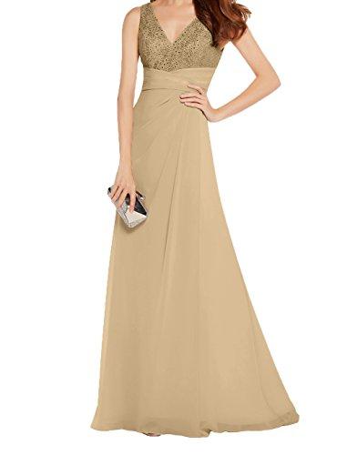 A Neu Festlichkleider Abendkleider Charmant Spitze Partykleider Linie Brautmutterkleider Champagner Edel Chiffon Lang Damen WzPqPwF016