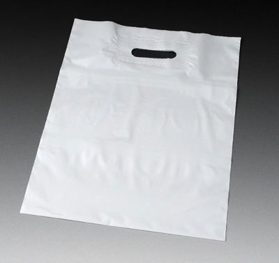 24'' x 24'' 2 mil Poly Tote Bag with Patch Handle and 5'' Bottom Gusset - White (250 Bags) - AB-12-305W by Miller Supply Inc