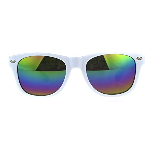Kids Mirrored Lens Classic Retro Plastic Horn Rim Hipster Sunglasses White Rainbow