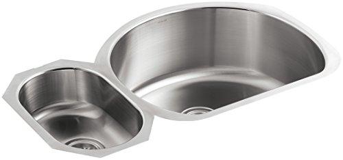 KOHLER K-3099-L-NA Undertone High/Low Undercounter Kitchen Sink, Stainless Steel