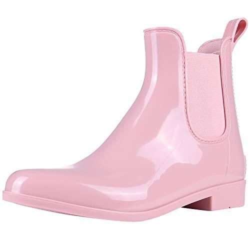 Evshine Women's Short Ankle Rain Boots Lightweight Chelsea Rain Boots Rubber Waterproof Booties PK37 Pink ()