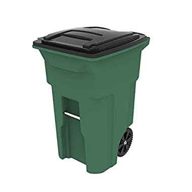 Toter 025564-R1940 Residential Heavy Duty Two Wheeled Trash Can with Attached Lid, 64 gallon, Standard Green