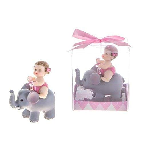 (Baby Girl with Elephant Favor or Small Cake Topper for Baby Shower or 1st birthday in Gift Box Keepsake)