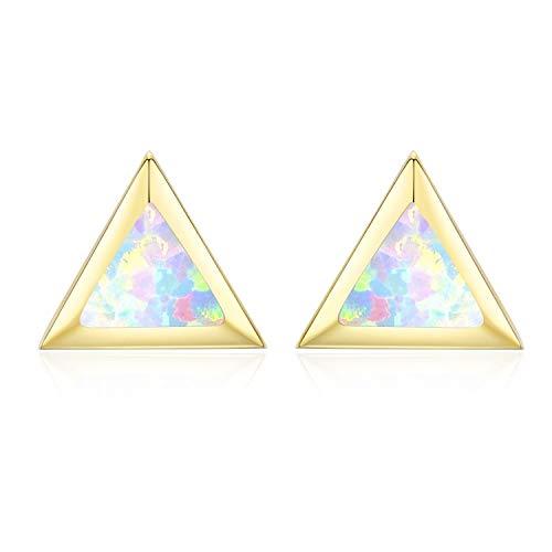 Gold Stud Triangle Top - CUOKA MIRACLE Synthetic Opal Triangle Stud Earrings, Sterling Silver Triangle Earrings Hypoallergenic Earrings for Women Nickel Free for Sensitive Ears Cut Gift for Women (Gold)
