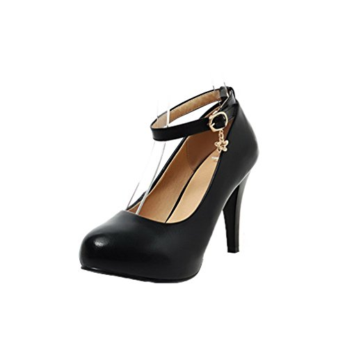 VogueZone009 Women's Solid PU High-Heels Round-Toe Buckle Pumps-Shoes Black LSYUu