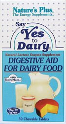 Natures Plus Say Yes to Dairy - 50 Chewable Tablets - Natural Lactase Enzyme Supplement, Maximum Strength Digestive Aid, Lactose Intolerance Relief - Gluten Free - 50 Servings
