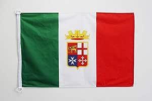 AZ FLAG Bandera Nautica de Italia Marina Militar 45x30cm - Pabellón de conveniencia Italiana MARITIMA 30 x 45 cm Anillos: Amazon.es: Jardín