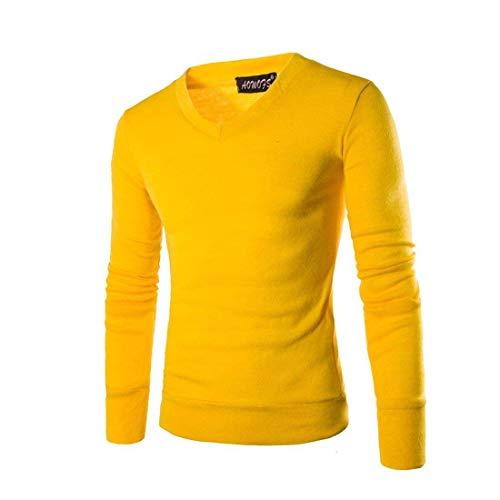 De Cuello Moda Con Hombre Color Manga Suéter Para Liso Larga Amarillo E Sólido Redondo En Camisas Invierno V Ropa Otoño Punto dnWdA4