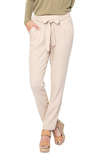 EastLife Womens High Waist Casual Pants Stretch Straight Long Trousers with Pockets (X-Large, Khaki)