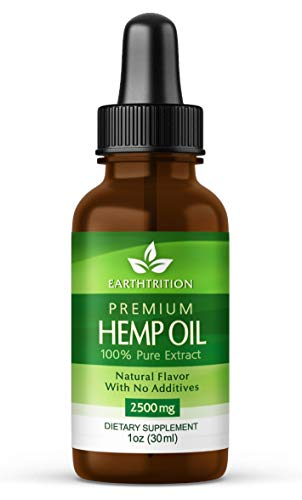 Premium Hemp Oil by Earthtrition - 2500mg Maximum Strength - 100% Organic Pure Extract, Naturally Reduces Inflammation and Anxiety, Improves Sleep Habits, Helps Stress, Reduces Joint Pain ()