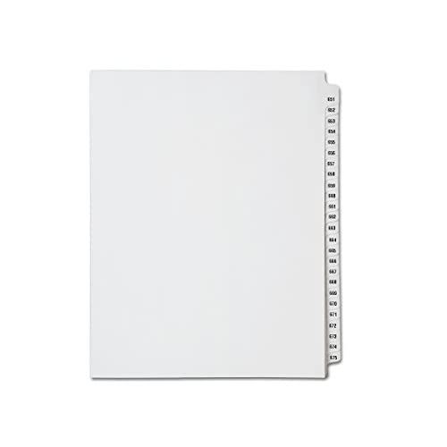 Discount Avery Collated Legal Index Dividers- Numbers 651 - 675, Letter Size, White, Mylar Tabs (1/Set) for cheap