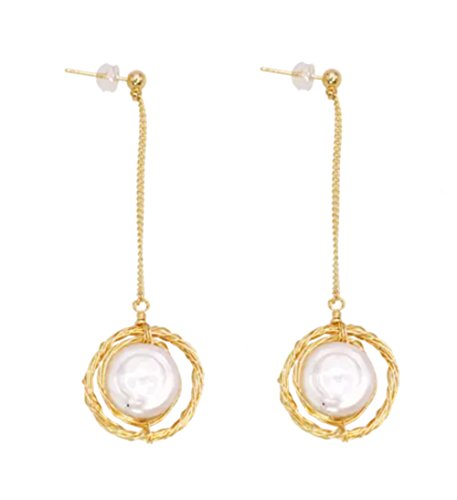 (Rakumi 14K Gilt Copper White Baroque Pearl Dangle Earrings)