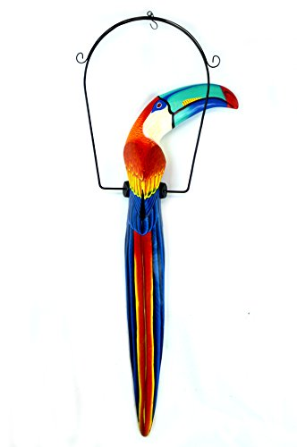 38 Inch Hand Painted Wooden Toucan Bird Hanging Statue Red/Blue