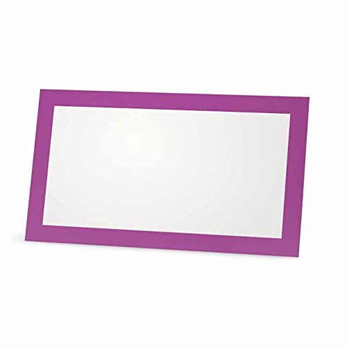 Violet Place Cards - FLAT or TENT Style - 10 or 50 PACK - White Blank Front Solid Color Border Placement Table Name Dinner Seat Stationery Party Supplies Occasion Event Holiday (50, FLAT STYLE) by Stationery Creations