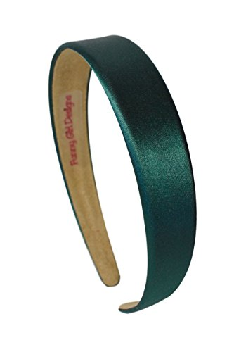 1 Inch Wide Funny Girl Designs Satin Headband (Hunter Green) -