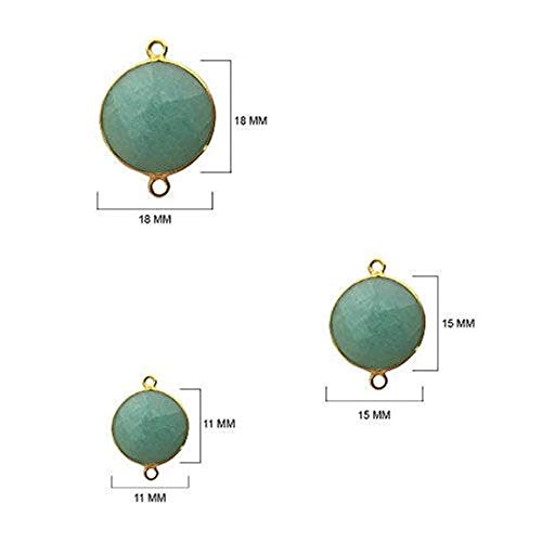 4 Pcs Amazonite Coin Beads 11mm 24K gold vermeil by BESTINBEADS, Amazonite Hydro Quartz Coin Pendant Bezel Gemstone Connectors over 925 sterling silver bezel jewelry making supplies ()