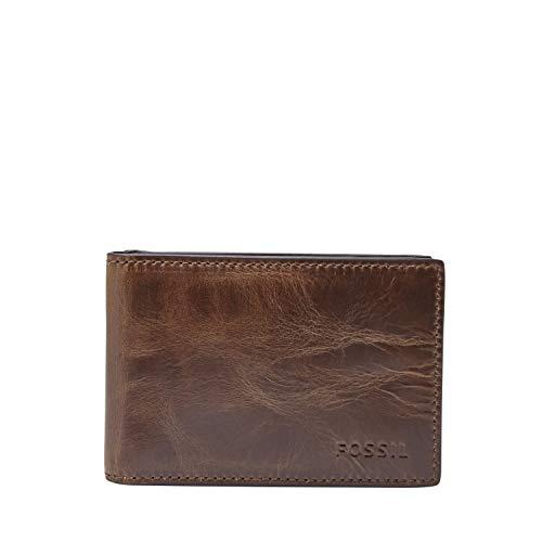 Fossil Men's Money Clip Bifold Wallet, Dark Brown, One Size (Money Wallet Leather Clip)