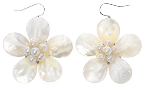Szxc Jewelry Women's Natural Pearl Shell Plumeria Dangle Earrings