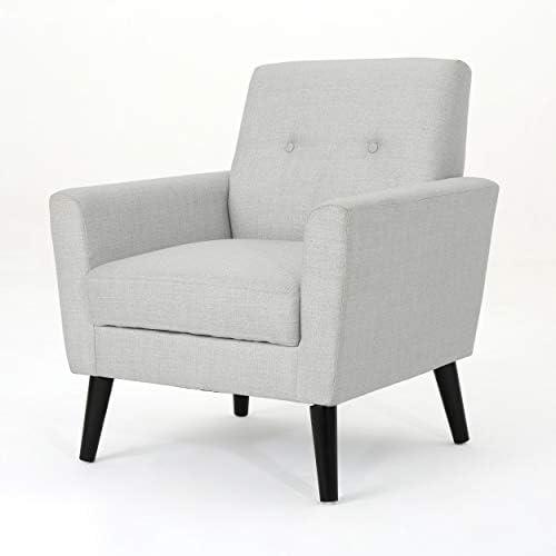 Christopher Knight Home Sienna Mid-Century Modern Fabric Club Chair, Light Grey
