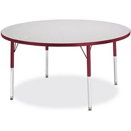 Kydz Activity Table Round 48 Diameter 15 24 Ht Gray Red School Play Furniture